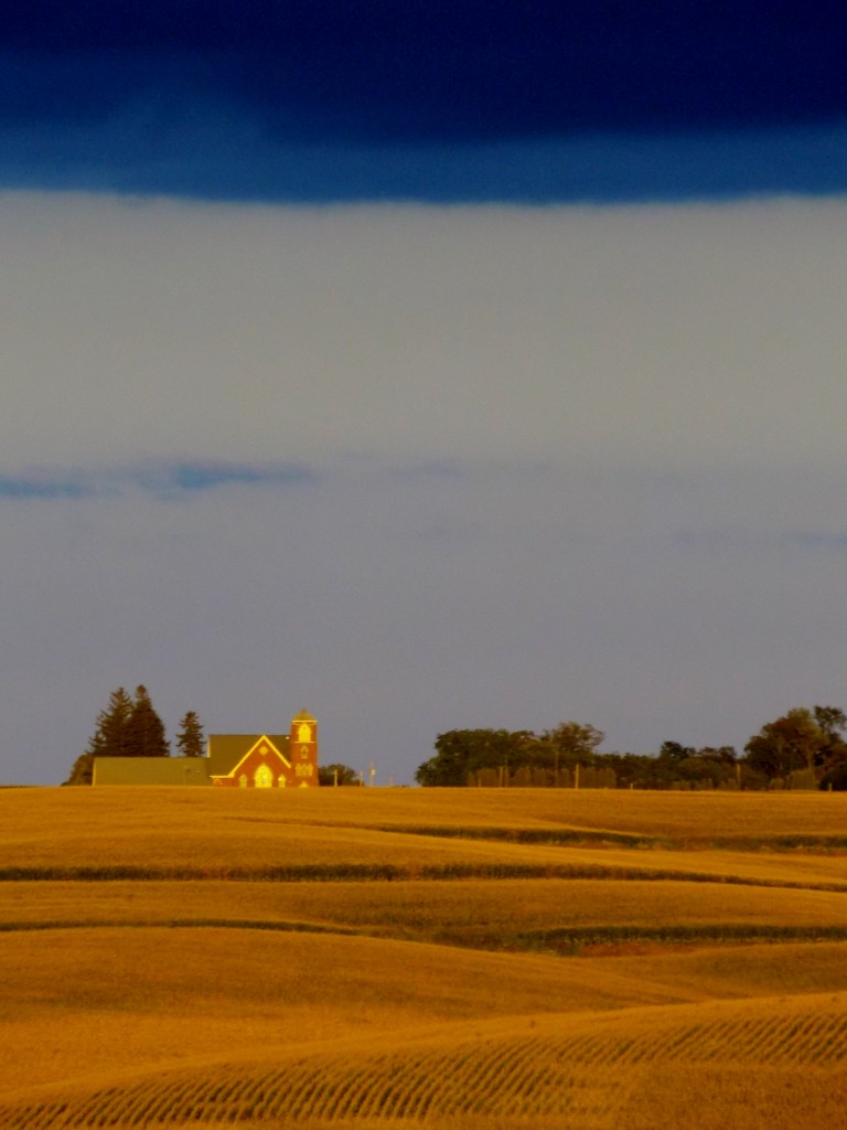 Looking across the field to Norway Lutheran Church.